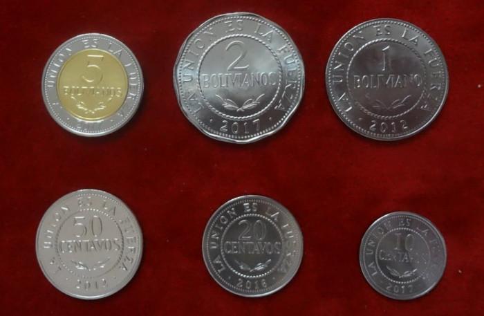 Monede Bolivia Set de 6 Monezi 10-20-50 Centavos 1-2-5 Boliviano UNC
