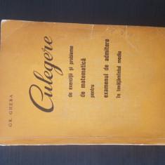 CULEGERE DE EXERCITII SI PROBLEME DE MATEMATICA - Grigore Gheba - 1964