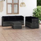 VidaXL Set mobilier grădină din paleți, cu perne, 6 piese, lemn de pin