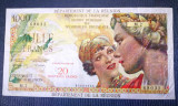 🔥 stare foarte buna 🔥 Reunion 20 Franci Noi pe 1000 Franci 1971 ⚜️ P-55 ⚜️