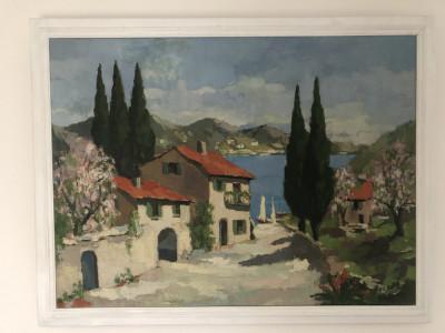 Pictura,tablou vechi  francez,in ulei pe panza,tehnica spaclu,semnat foto