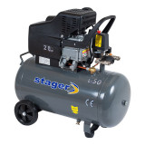 Compresor aer Stager, 1500 W, 8 bar, 50 l, 200 l/min, 2850 rpm, monofazat, angrenare directa