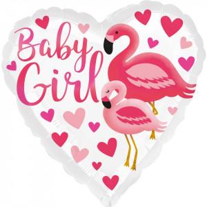 Balon botez Flamingo Baby Girl din folie 43cm