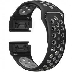 Curea ceas Smartwatch Garmin Fenix 3 / Fenix 5X, 26 mm iUni Silicon Sport Negru-Gri