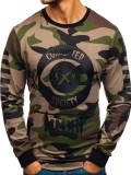 Cumpara ieftin Bluză fără glugă cu imprimeu pentru bărbat camuflaj-kaki Bolf 0755