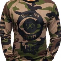 Bluză fără glugă cu imprimeu pentru bărbat camuflaj-kaki Bolf 0755