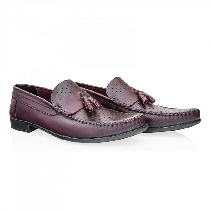 Pantofi barbati Caspian din piele naturala Cas-690-L BORDO