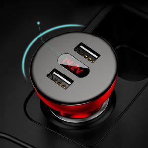 Incarcator Auto Baseus, Shake-head Power Display, 4.8 A 2 x USB, Negru