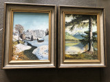 Tablou,pereche de tablouri vechi,germane,ulei