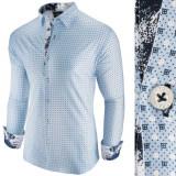 Camasa pentru barbati, albastru, slim fit, casual - Patterned Jack, L, M, S, XL, XXL, Maneca lunga