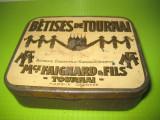 9685-Betises de Turnai cutie bomboane veche metal Franta sistem lito interbelica