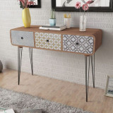 vidaXL Masă consolă cu 3 sertare, maro