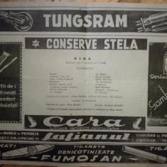 Caiet sală AIDA cu reclame interbelice, conserve Stela, restaurant Gambrinus