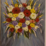 Colour in Bloom - Tablou pictat in culori acrilice, 30/40 cm, Original., Flori, Acrilic, Impresionism