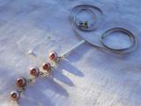 COLIER argint cu PERLE ROZ INCHIS VISINIU de efect ELEGANT stare IMPECABILA