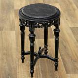 Masuta din lemn masiv negru cu blat marmura neagra  CAT-Table-black-52x33cm