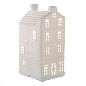 Veioza decorativa ceramica alba model Casuta 13x11x24 cm E27 max 1x30W