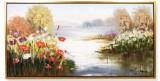 Mal de rau cu flori- pictura in ulei PC-82, Peisaje, Realism