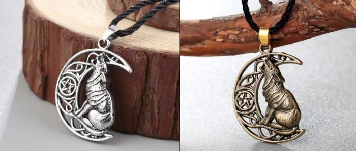Pandantiv argint tibetan LUP URLAND PE LUNA+PENTAGRAMA motive celtice+BONUS snur