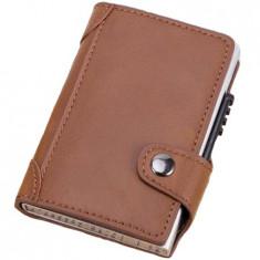 Portofel RFID iUni P4, 10 carduri, Maro