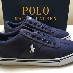 41,43_adidasi originali barbati Ralph Lauren_textil_albastru_cutie