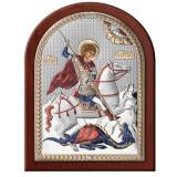 Icoana Sf.Gheorghe ClassGifts pe Foita de Argint 925 cu Auriu si Color 14.5×18.5cm COD: 1699