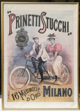 Reclama bicicleta dubla anii 80 tiparita în Italia inramata 51x71cm