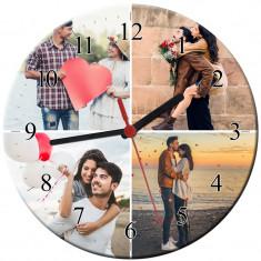 Ceas personalizat din sticla, model cu 4 poze, diametru 20 cm