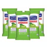 Set 5 Pachete Servetele Umede Antibacteriene Septona cu alcool 20%, aroma Mar, 15 Buc