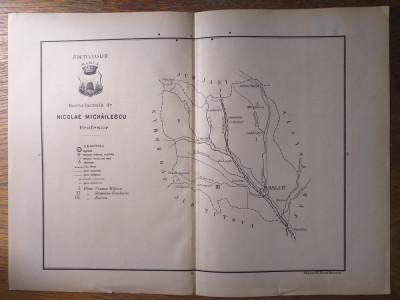 JUDETUL VASLUIU/ JUDETUL VASLUI  // HARTA CROMOLITOGRAFIATA, 1904 foto