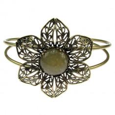 Bratara statement floare filigran cu jad galben