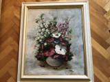 Tablou,pictura in ulei pe panza,tehnica spaclu,reprezentand vaza cu flori, Altul