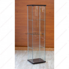 Vitrina de sticla calita 430 x 370 x 1630 mm, WENGE (VI-BP01-W)