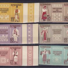 1958  LP 462 e COSTUME NATIONALE TRIPTICURI CU  VINIETE  NEDANTELAT  SERIE MNH