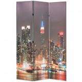 Paravan cameră pliabil, 120x170 cm, New York pe timp de noapte, vidaXL