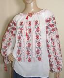Ie romaneasca brodata manual , camasa populara  lucrata manual panza topita S-M, S/M, Rosu