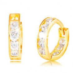 Cercei din aur galben de 14K - arcuri, zirconii strălucitoare transparente