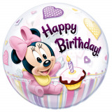 Balon bubble Minnie Mouse 1st Birthday - 56cm, Qualatex 12862