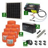 Pachet gard electric cu Panou solar 3,1J putere și 4000m Fir 90Kg cu acumulator