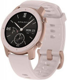 Smartwatch Huami Amazfit GTR, Display AMOLED 1.2inch, Bluetooth, GPS, Bratara Cauciuc 42mm, Android/iOS (Roz)