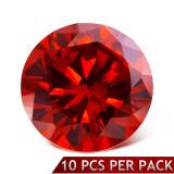 Ştras rotund, faţetat, de culoare roşie, 3 mm