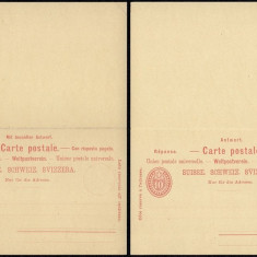 Switzerland - Postal History Rare Old Postal stationery + Reply UNUSED DB.116