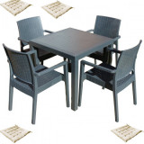Set exterior gradina MATARANI masa patrata WOOD 90x90x75cm 4 scaune PARIS RATTAN polipropilen/fibra sticla culoare cafea,4 perne scaun B004056-42321-4
