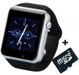 Ceas Smartwatch cu Telefon iUni A100i, BT, LCD 1.54 Inch, Camera, Negru + Card MicroSD 4GB Cadou