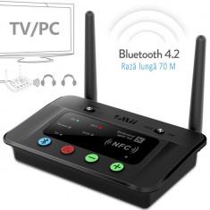 Receptor transmitator Bluetooth 4.2, raza 70 m, Hi-Fi, RCA AUX 3.5mm NFC, pentru TV si PC