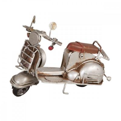 Macheta scuter Retro din metal argintiu vintage 11 cm x 5 cm x 8 h Elegant DecoLux foto