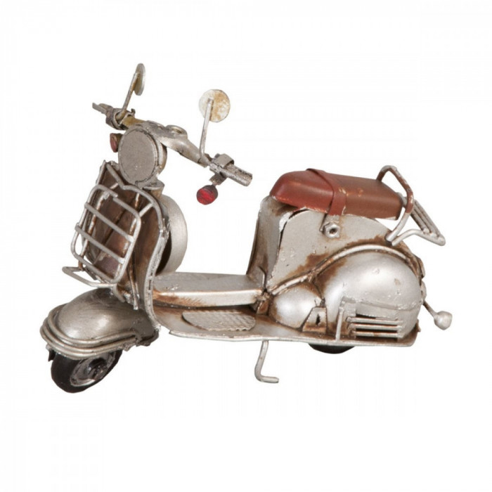 Macheta scuter Retro din metal argintiu vintage 11 cm x 5 cm x 8 h Elegant DecoLux