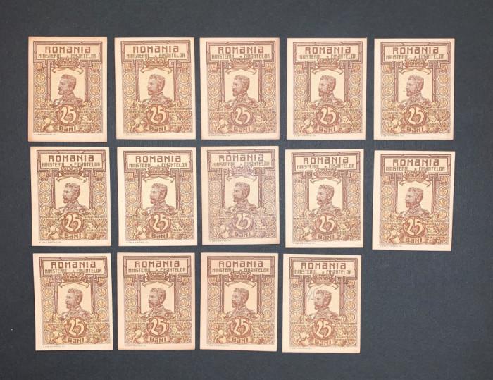 Patrusprezece bancnote de 25 bani din 1917