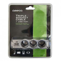 Adaptor bricheta auto 3 socket-uri + port usb