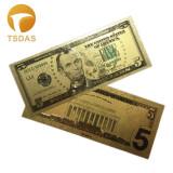 SUA/USA Bancnota 5 DOLLARS -  Bancnota placata cu aur - COLOR